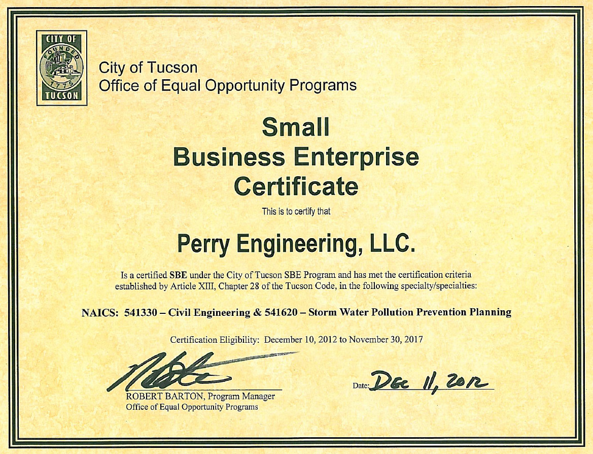 Perry Engineering Receives SBE Certification! | Perry Engineering