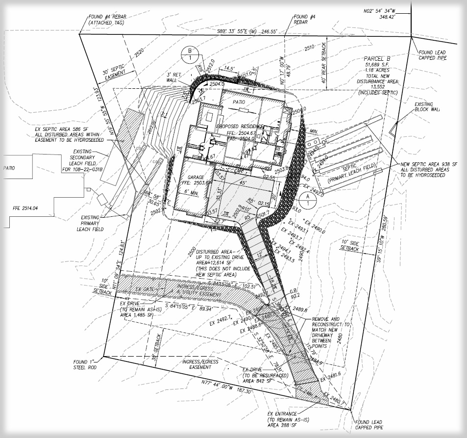 Custom home site grading plans perry engineering for Custom plans